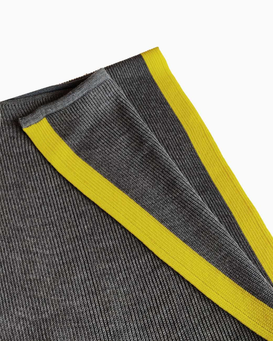 Coastal Stripe Organic Wool Scarf - Grey