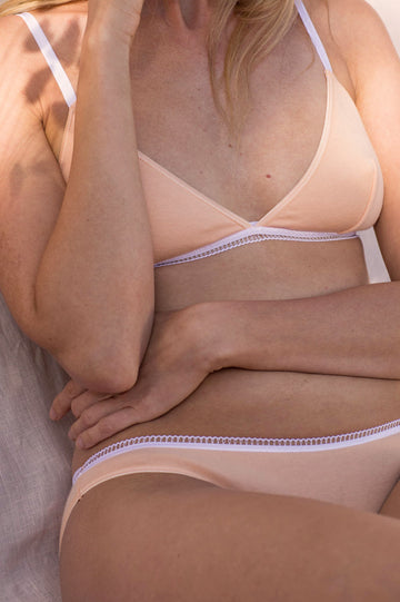 Lena Organic Cotton Bra in Peach