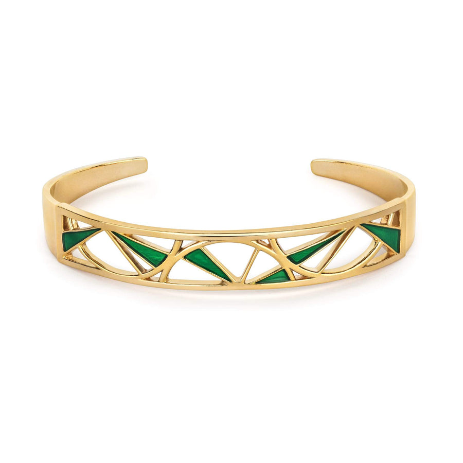 Green & Gold Wedge Bangle