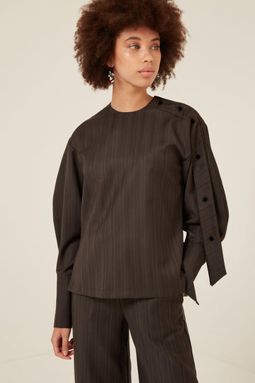 Jade Blouse in Brown Pinstripe