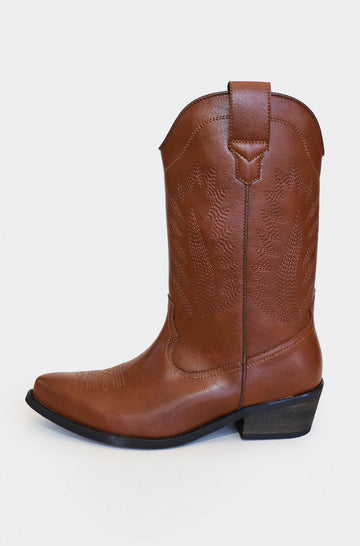 Lucky Vegan Leather Western Boots in Brown