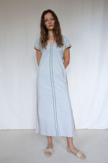 Two Bunch Palms Organic Cotton & Linen Mix Kaftan in Blue