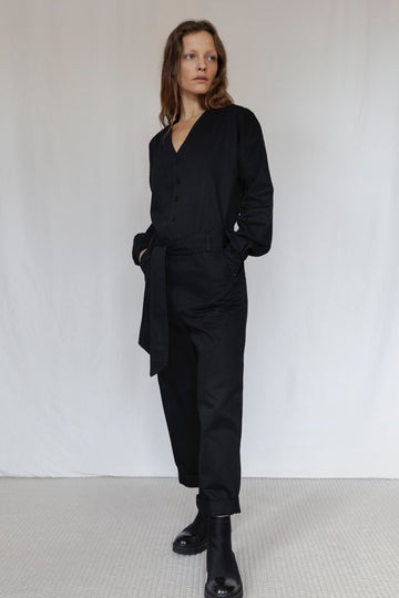 Organic Black Long Sleeve Jumpsuit