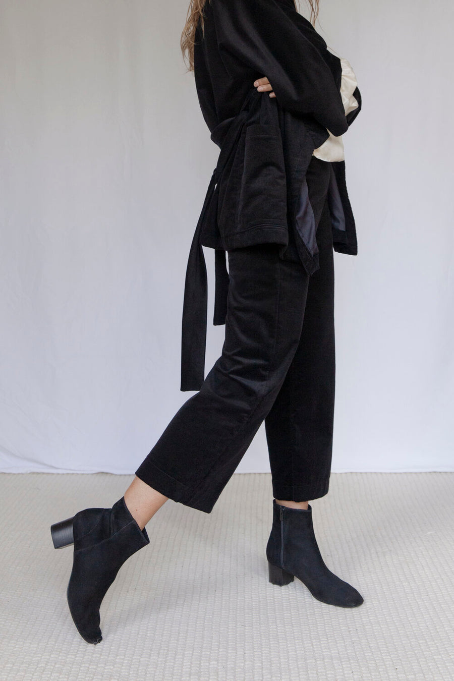 Bloomsbury Black Velvet Corduroy Trousers