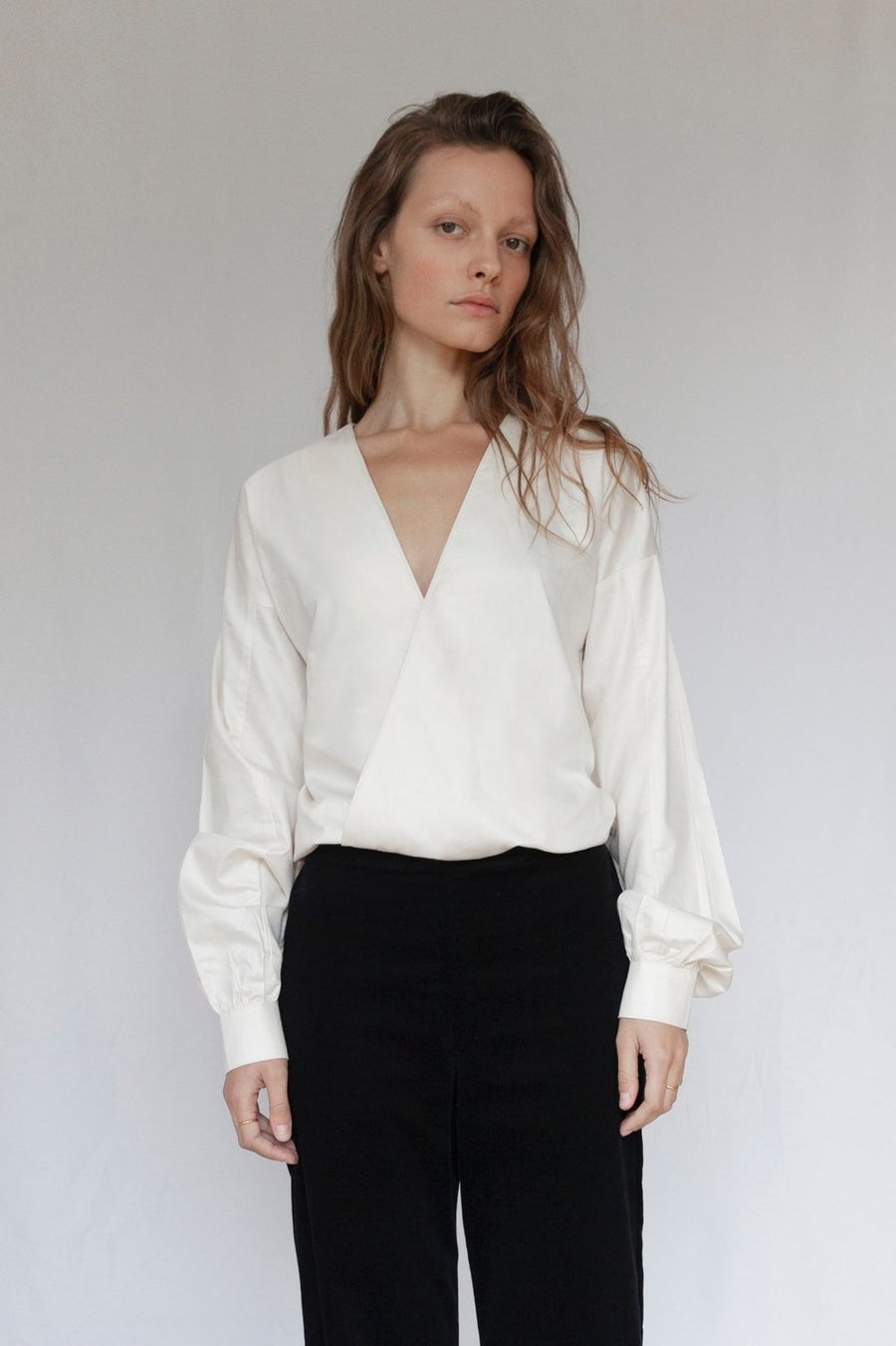 The V Ivory Organic Cotton Sateen Blouse