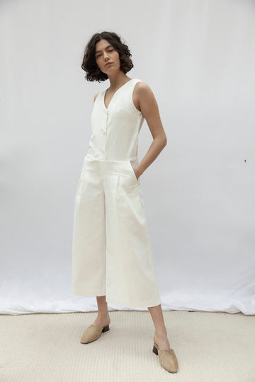 Hampstead White Sleeveless Jumpsuit
