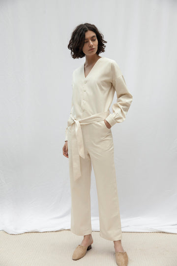 Highbury Beige Long Sleeve Jumpsuit