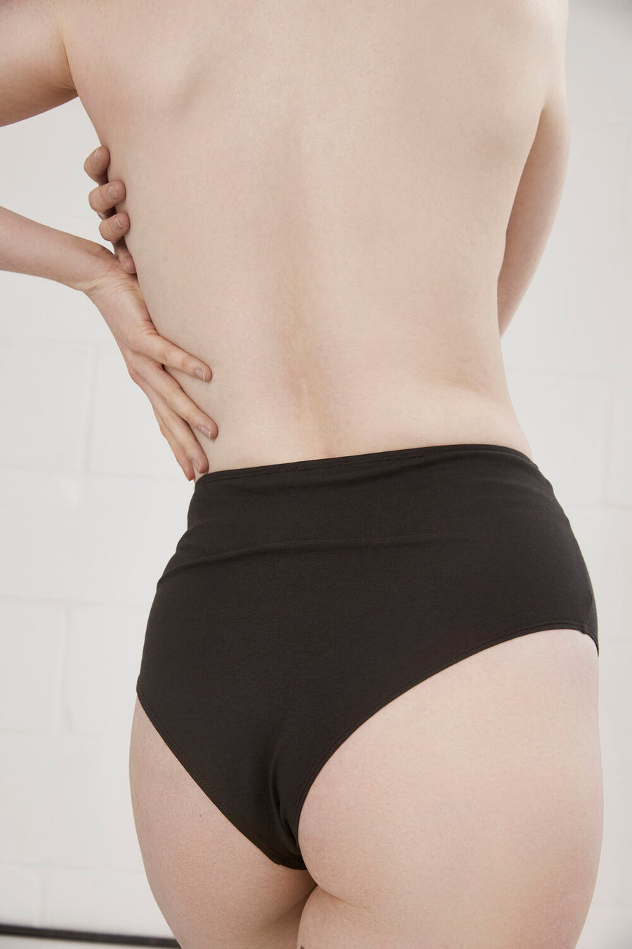 Mia High Waisted Organic Cotton Brief in Charcoal or Natural