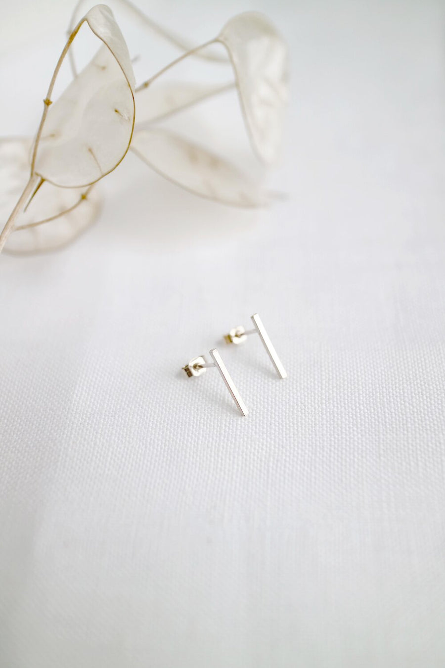 Silver Minimal Bar Stud Earrings