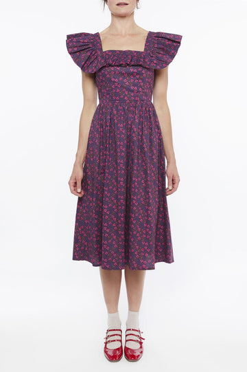 Nora Midi Dress in Rich Purple