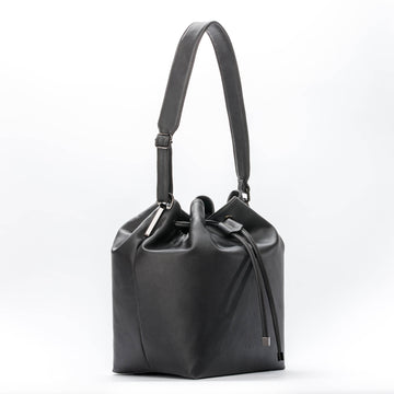 De Pijp Vegan Leather Bucket Bag in Black