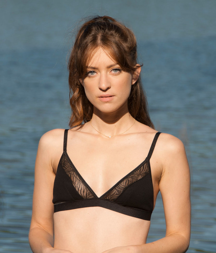 Savannah Organic Cotton Bra in Black