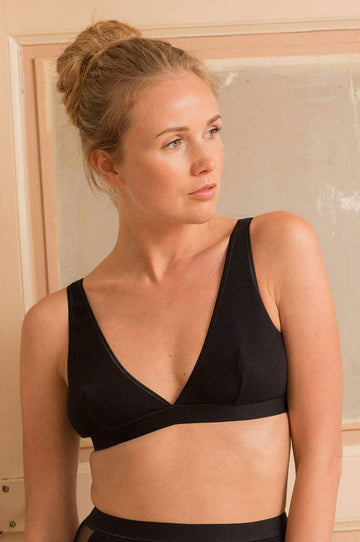 Onyx Organic Cotton Bra in Black