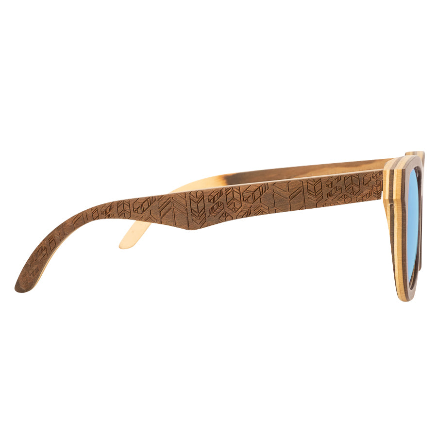 Petrel Beechwood Sunglasses with Blue Mirror Lens