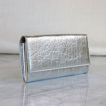 Vegan Leather Continental Wallet in Silver