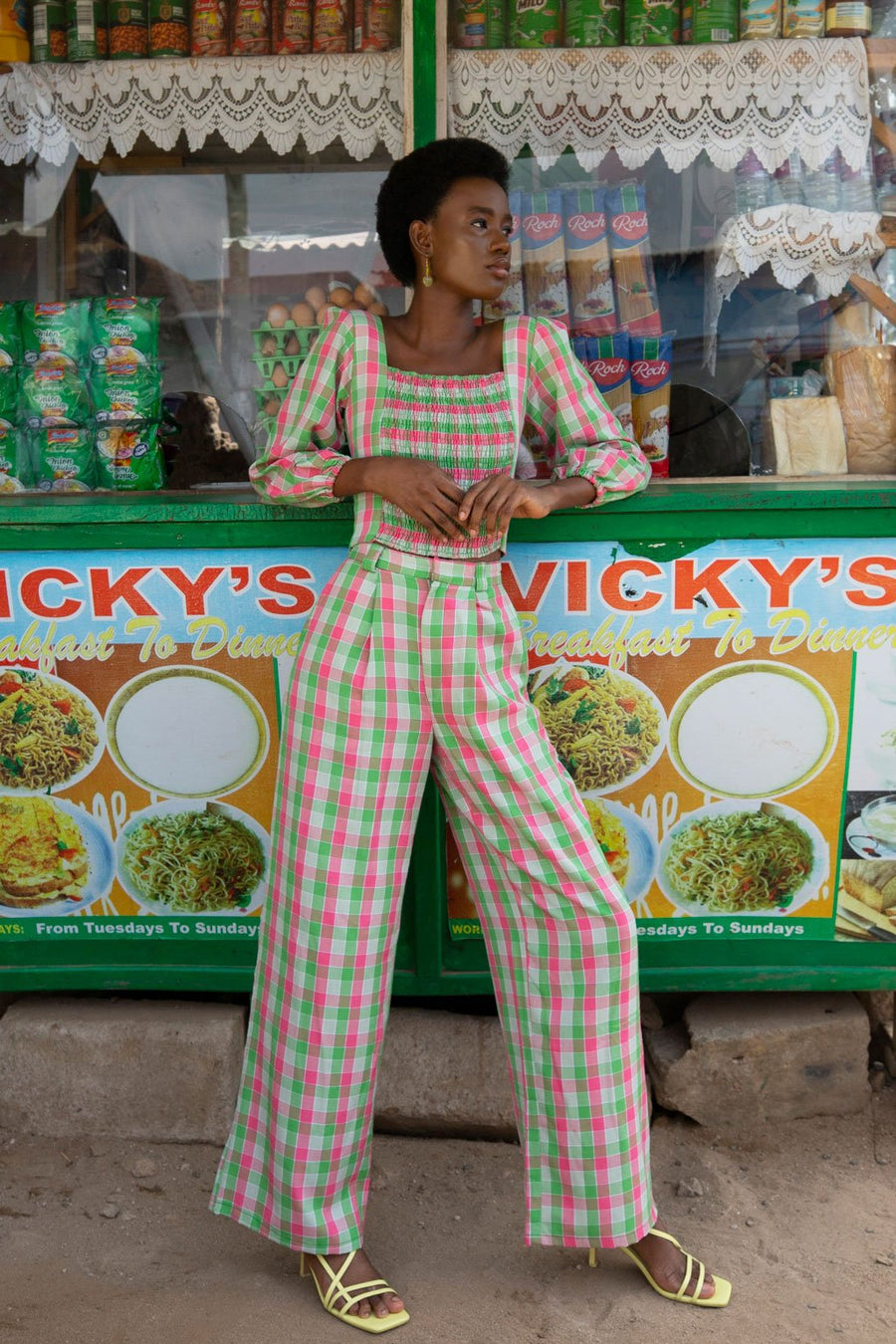 Pink and Green Check Cotton Wide Leg Trouser