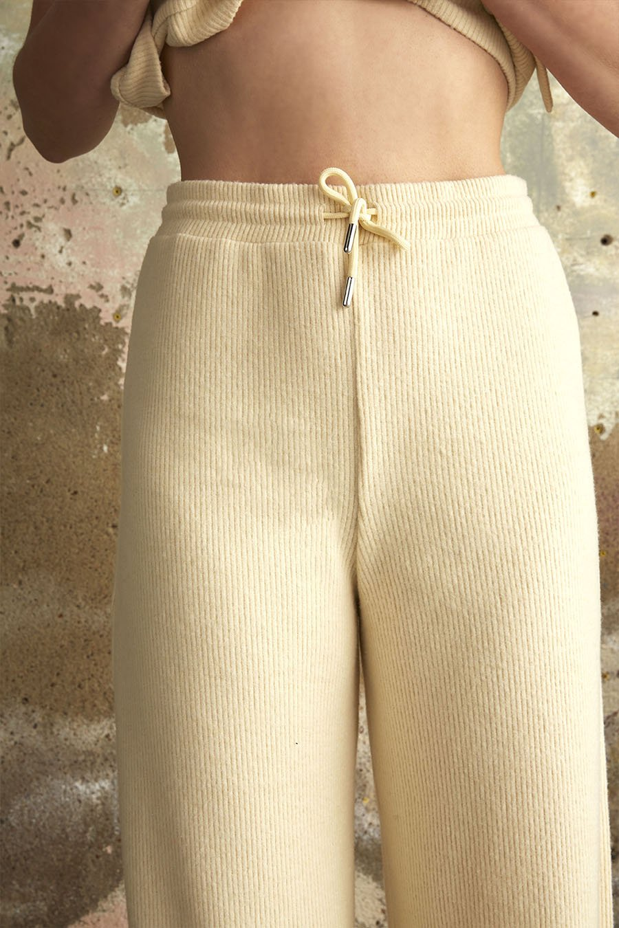 Recycled Polyester Ribbed Straight Leg Trousers in Cream