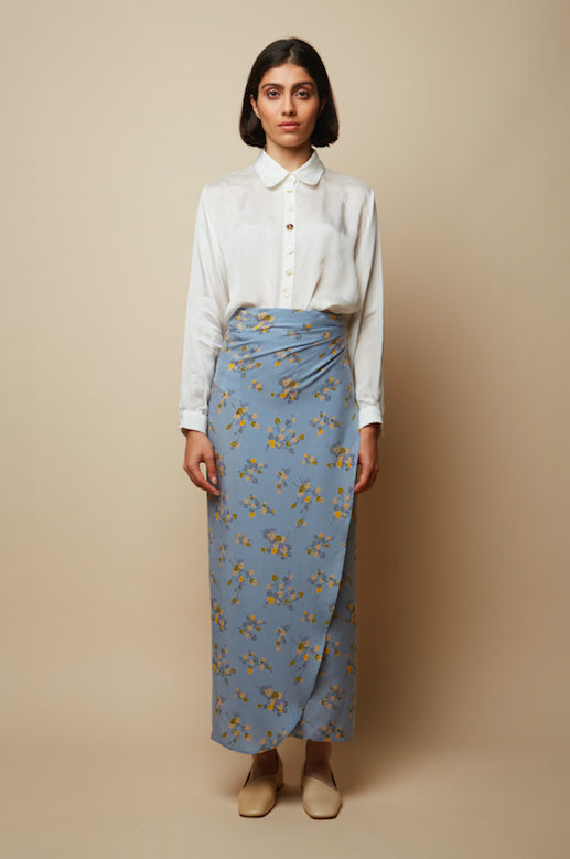 Recycled Cupro Wrap Skirt in Blue Print