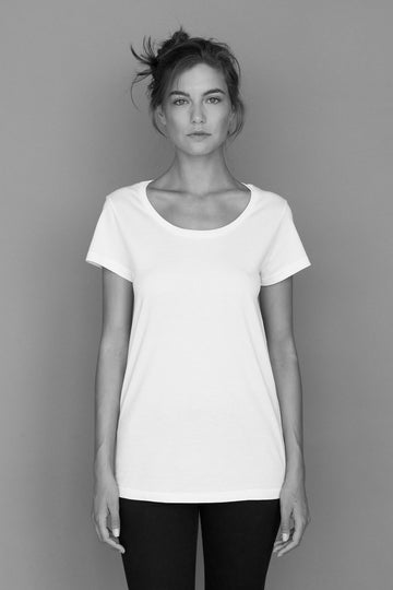 Relaxed Wide Neck Organic Cotton T-Shirt in White