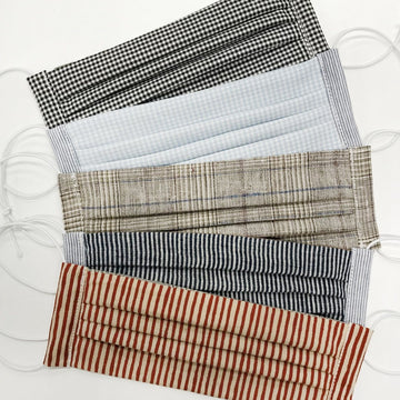 Face Masks Made From 100% Natural Fibres - Pack of 5 Checks + Stripes Set
