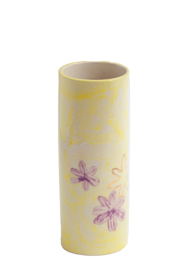 SABINNA x KANA Yellow Vase with 22 Carat Gold Hand Drawn Flower