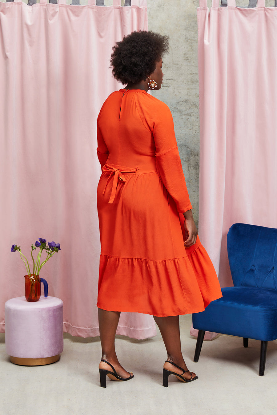 2 in 1 Nora Dress in Orange Red