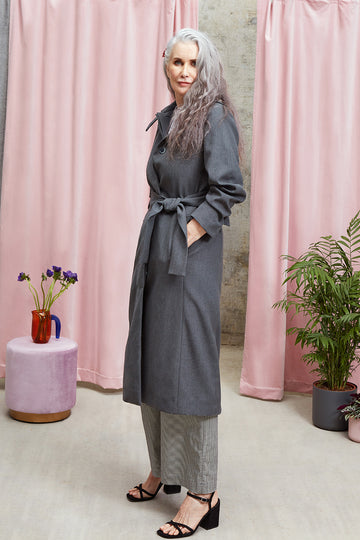 Violet Upcycled Wool Trench Coat in Dark Grey