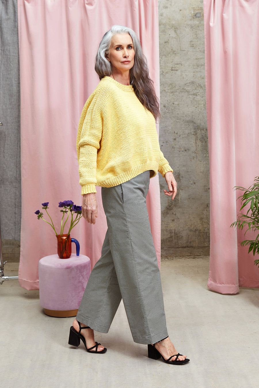 Hand Knitted Cotton and Wool Mix Lea Jumper in Yellow