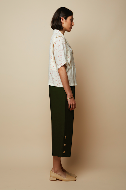 Lounge Pants With Side Buttons in Khaki