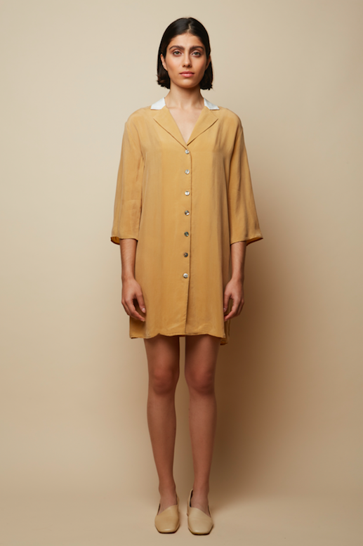Recycled Cupro Valeria Shirt Dress in Beige