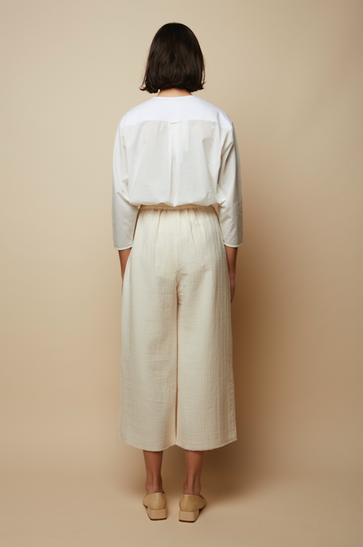 Organic Cotton Jersey & Voile Blouse in White