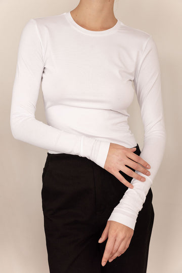 Slim Fit Organic Cotton Long Sleeve T-Shirt in White