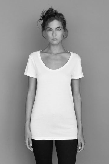 Slim Fit Organic Cotton T-Shirt with Rolled Sleeves in White