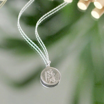 Silver Saint Christopher Medallion Necklace