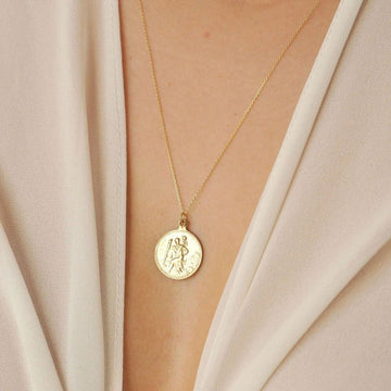 9ct Gold Saint Christopher Medallion Necklace