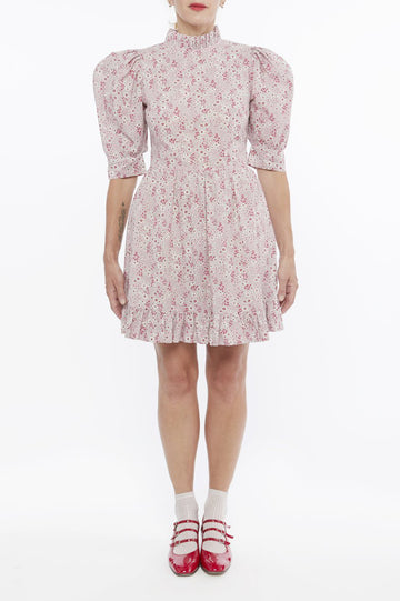Susie Mini Dress in Pale Pink Print