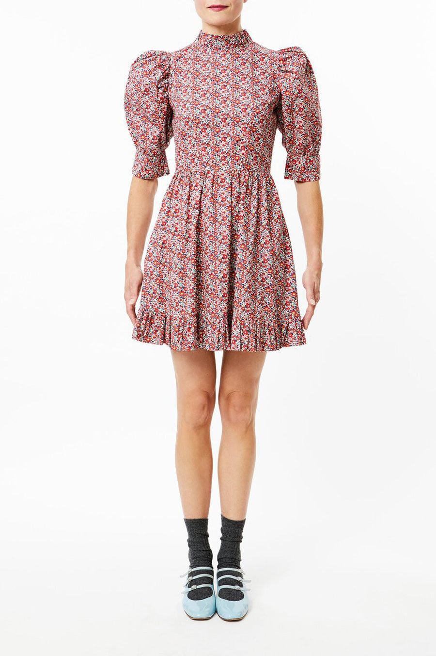 Susie Mini Dress in Red Floral Print