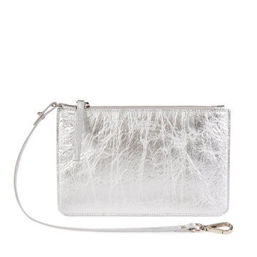 Vegan Leather Pouch in Silver