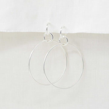 Triple Circle Silver Statement Hoop Earrings
