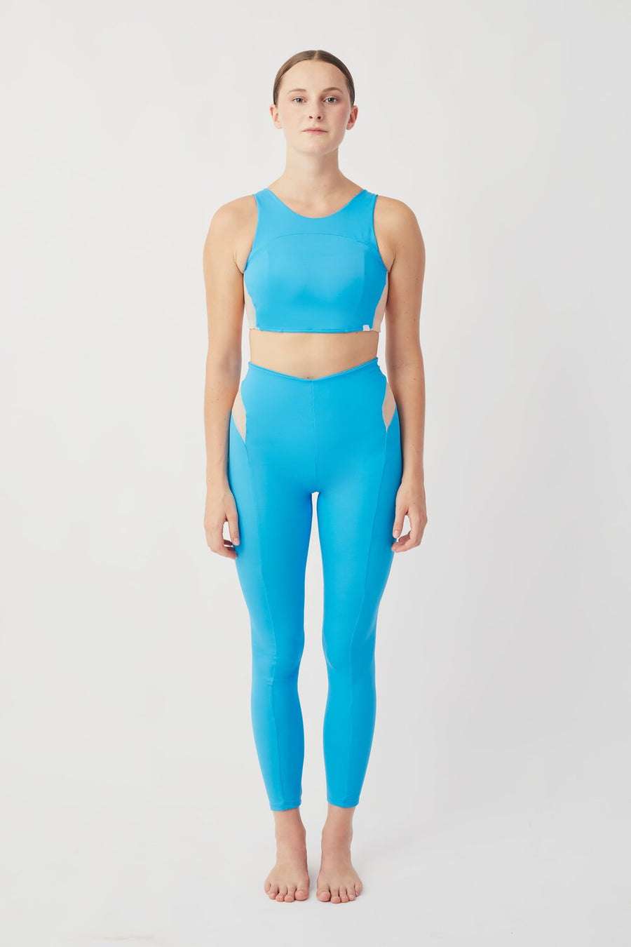 Recycled Lycra Active Bra in Aqua Blue