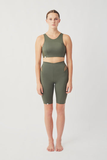 Recycled Lycra Crop Shorts in Green