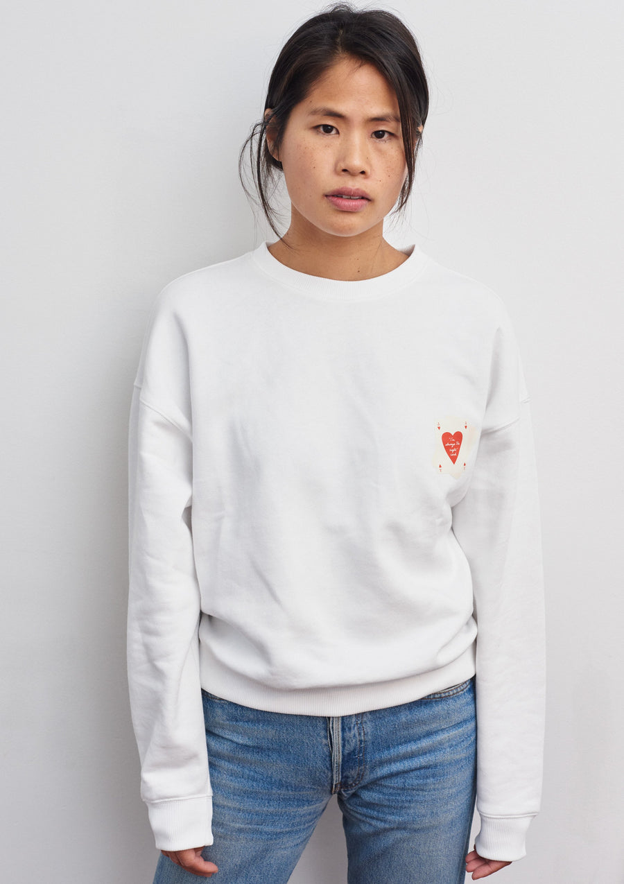 Organic Cotton Bridge & Surf Club Sweatshirt in White