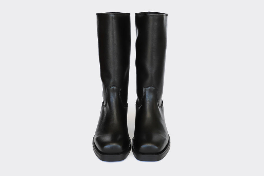 Willie Vegan Leather Motorcycle Boots in Black