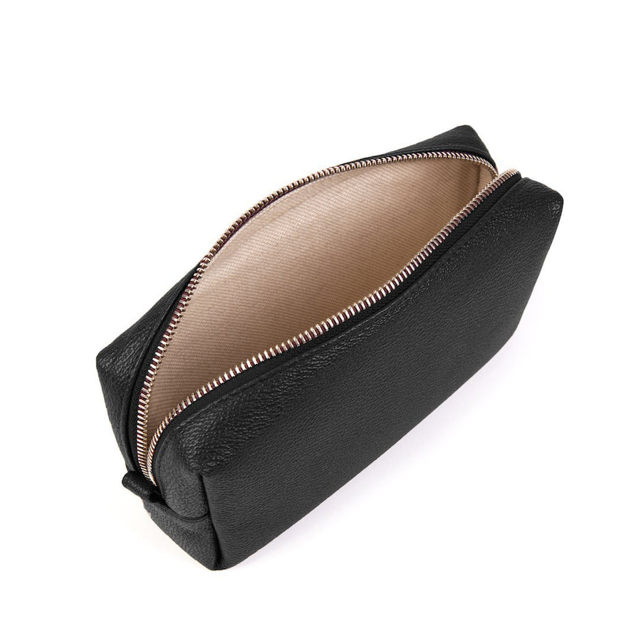 Vegan Leather Toiletries Bag in Black