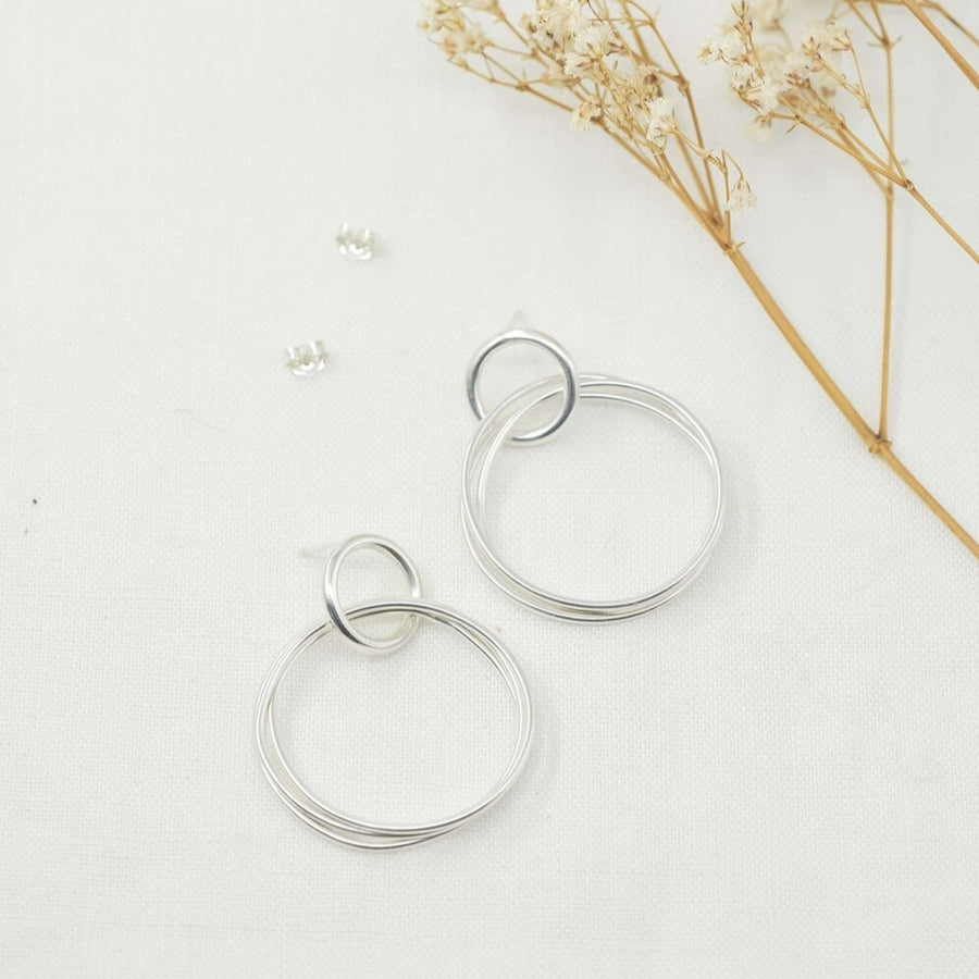 Wrapped Hoop Silver Stud Earrings