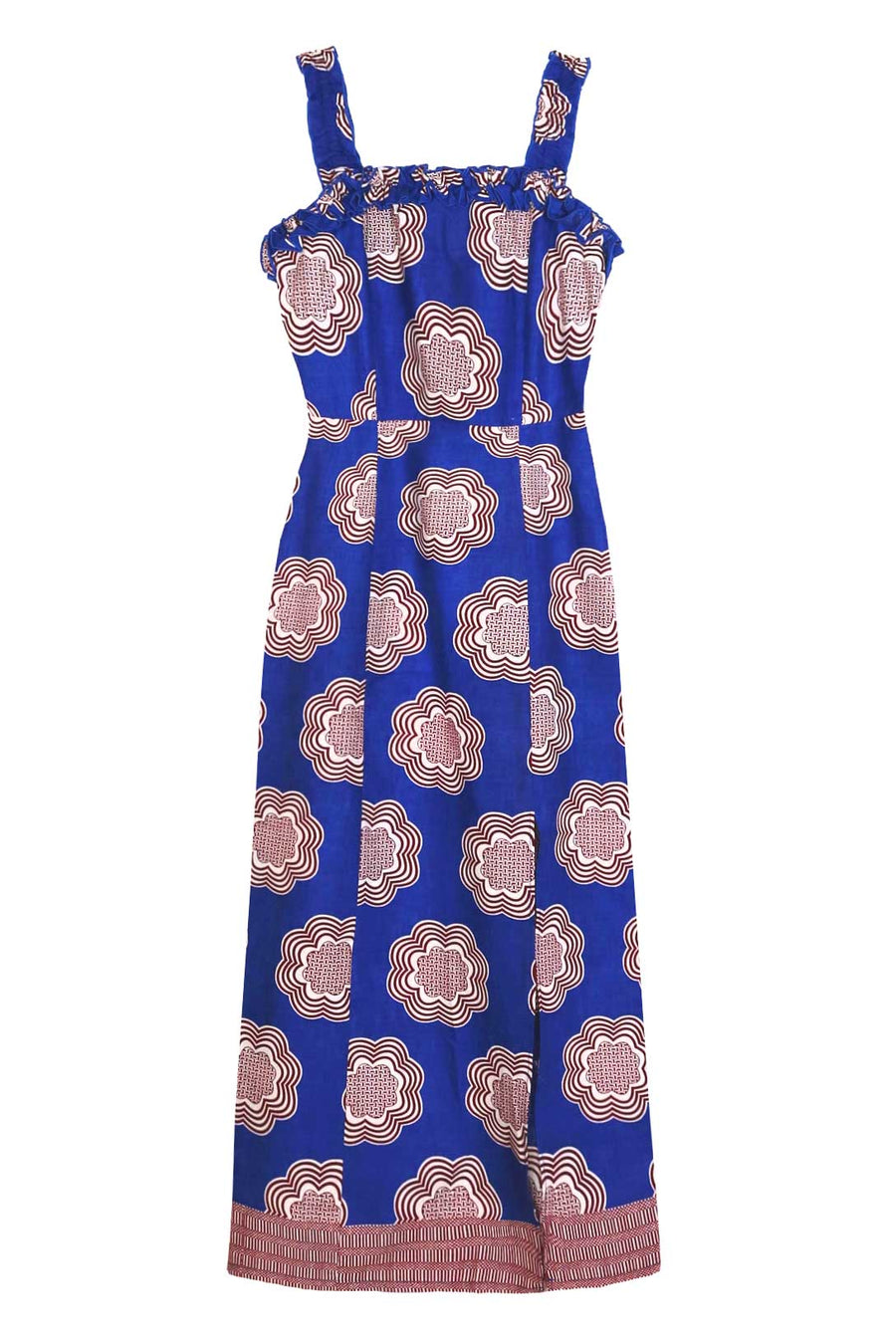 Retro Blue Frill Cotton Midi Dress