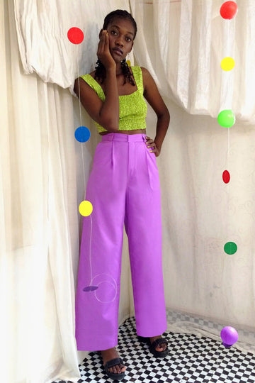 Lilac Wide Leg Cotton Trousers