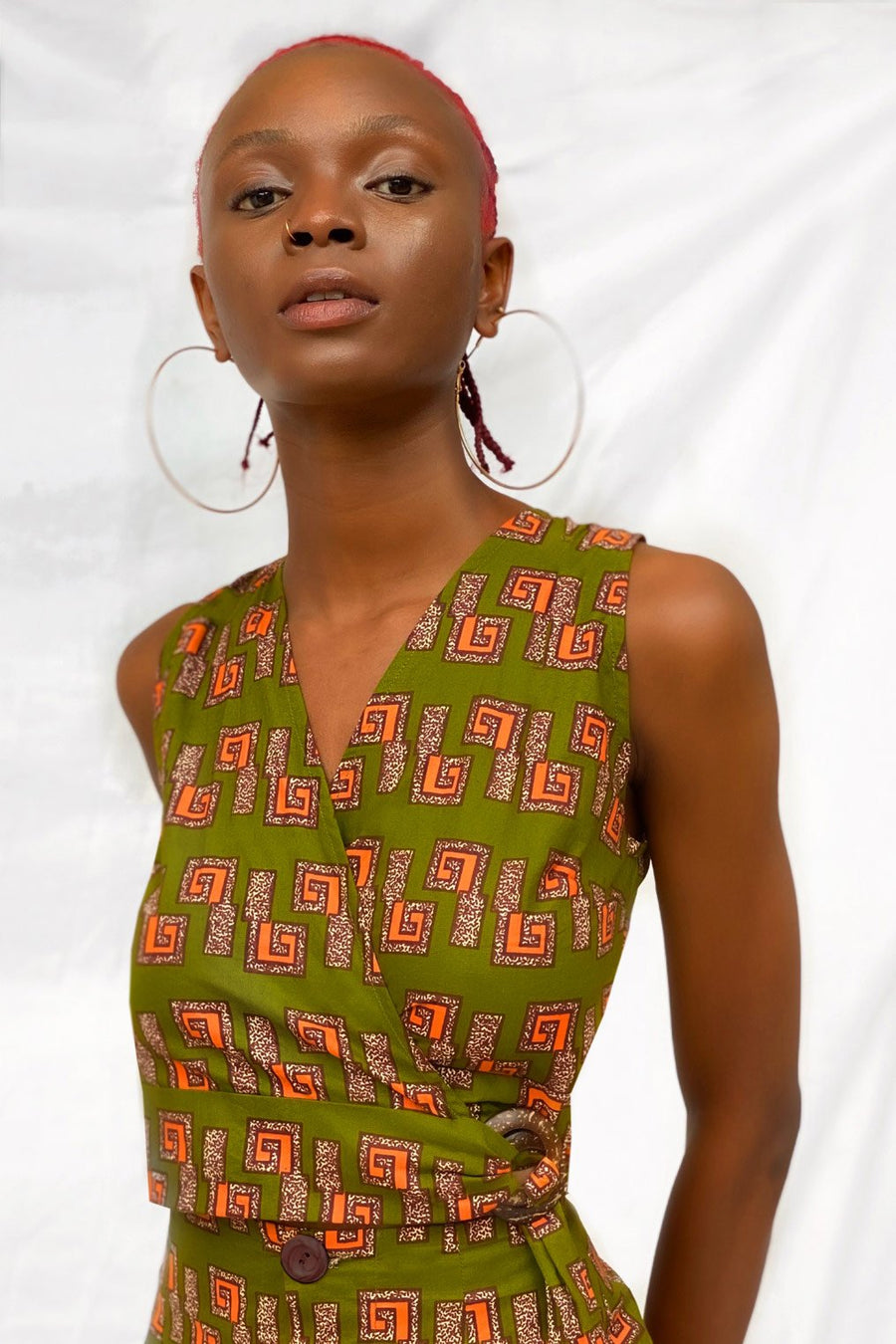 Coconut Ring Wrap Cotton Top in Green Print