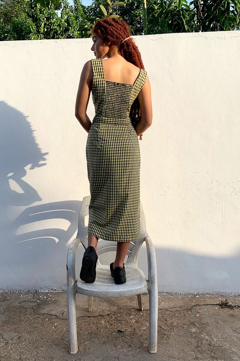 Cotton Midi Dress in Check Print