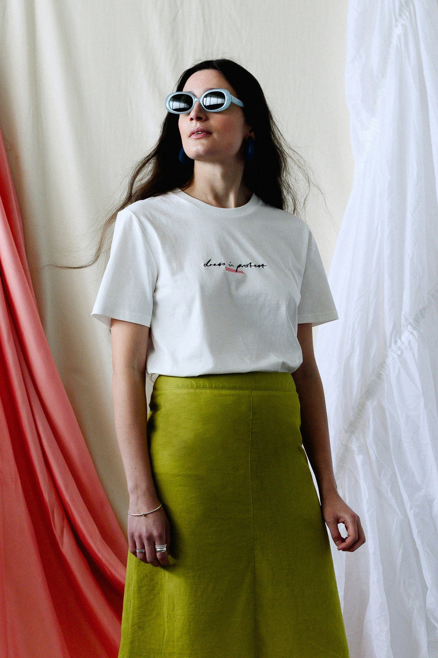 Dress in Protest Embroidered Organic Cotton T-Shirt